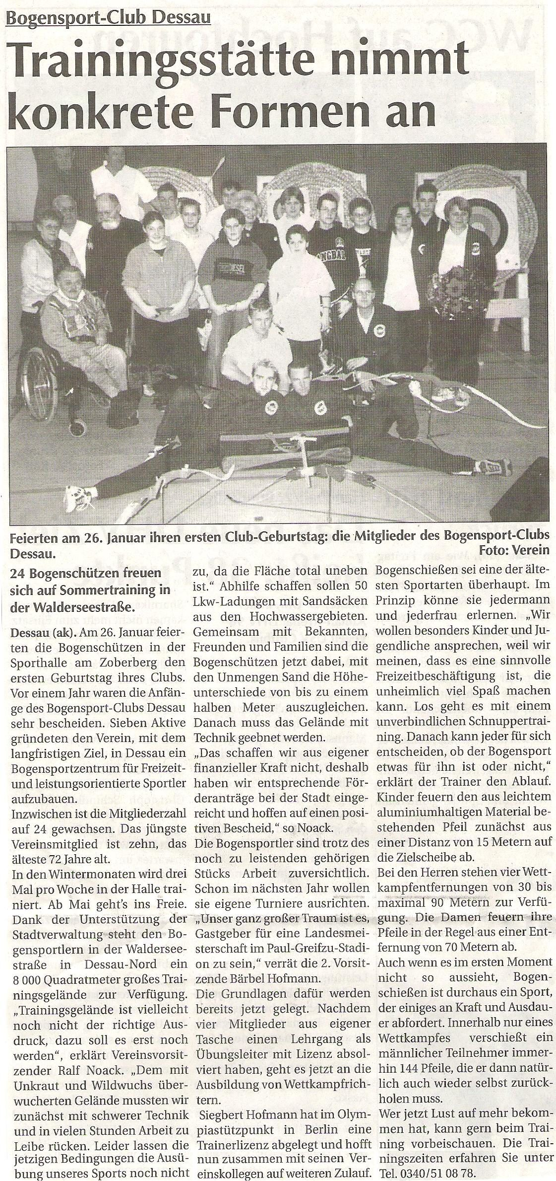 1. Geburtstag unseres Clubs – Super Sonntag (Februar 2003)