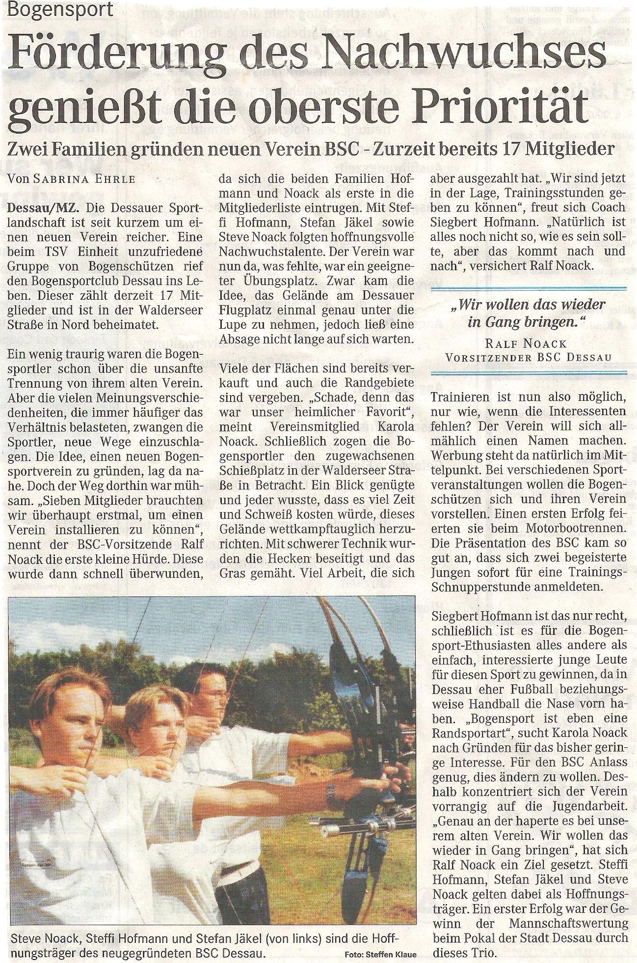 Pokal der Stadt Dessau – Mitteldeutsche Zeitung (Juni 2002)