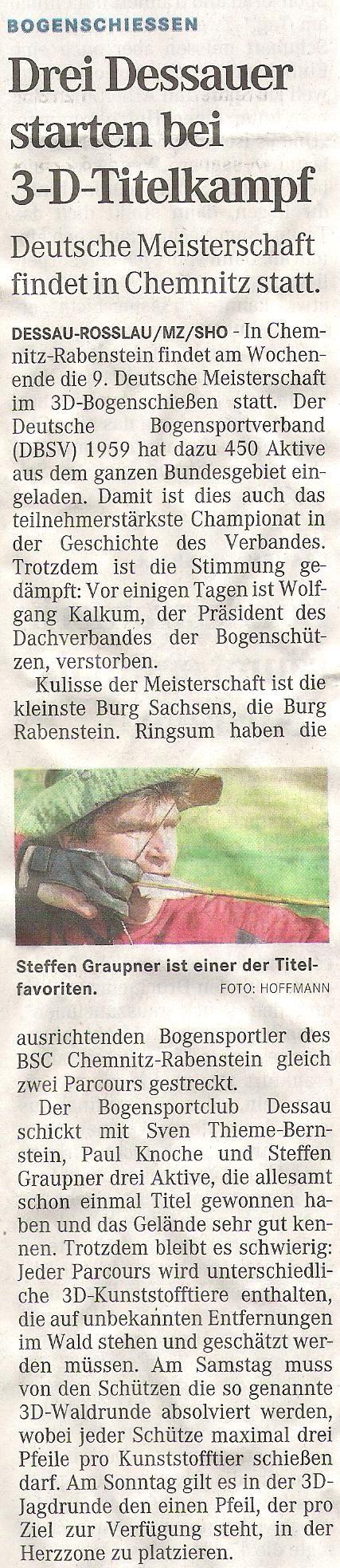 Ankündigung DM 3D in Chemnitz – Mitteldeutsche Zeitung vom 19.08.2011