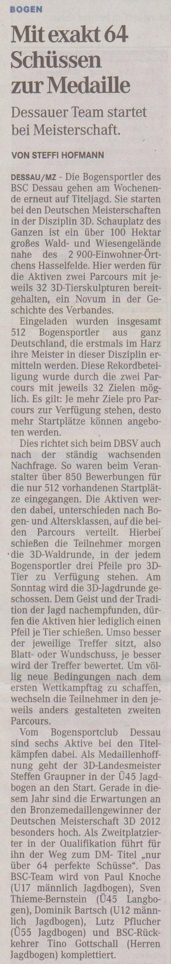 Ankündigung Deutsche Meisterschaft 3D – Mitteldeutsche Zeitung vom 09.08.2013