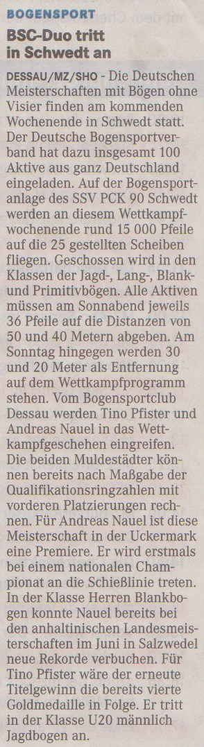 Ankündigung Deutsche Meisterschaft Bögen ohne Visier – Mitteldeutsche Zeitung vom 06.09.2013