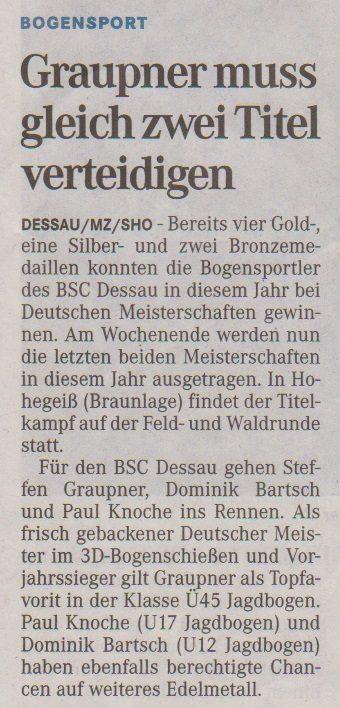 Ankündigung Deutsche Meisterschaft Feld- u. Waldrunde – Mitteldeutsche Zeitung vom 21.09.2013