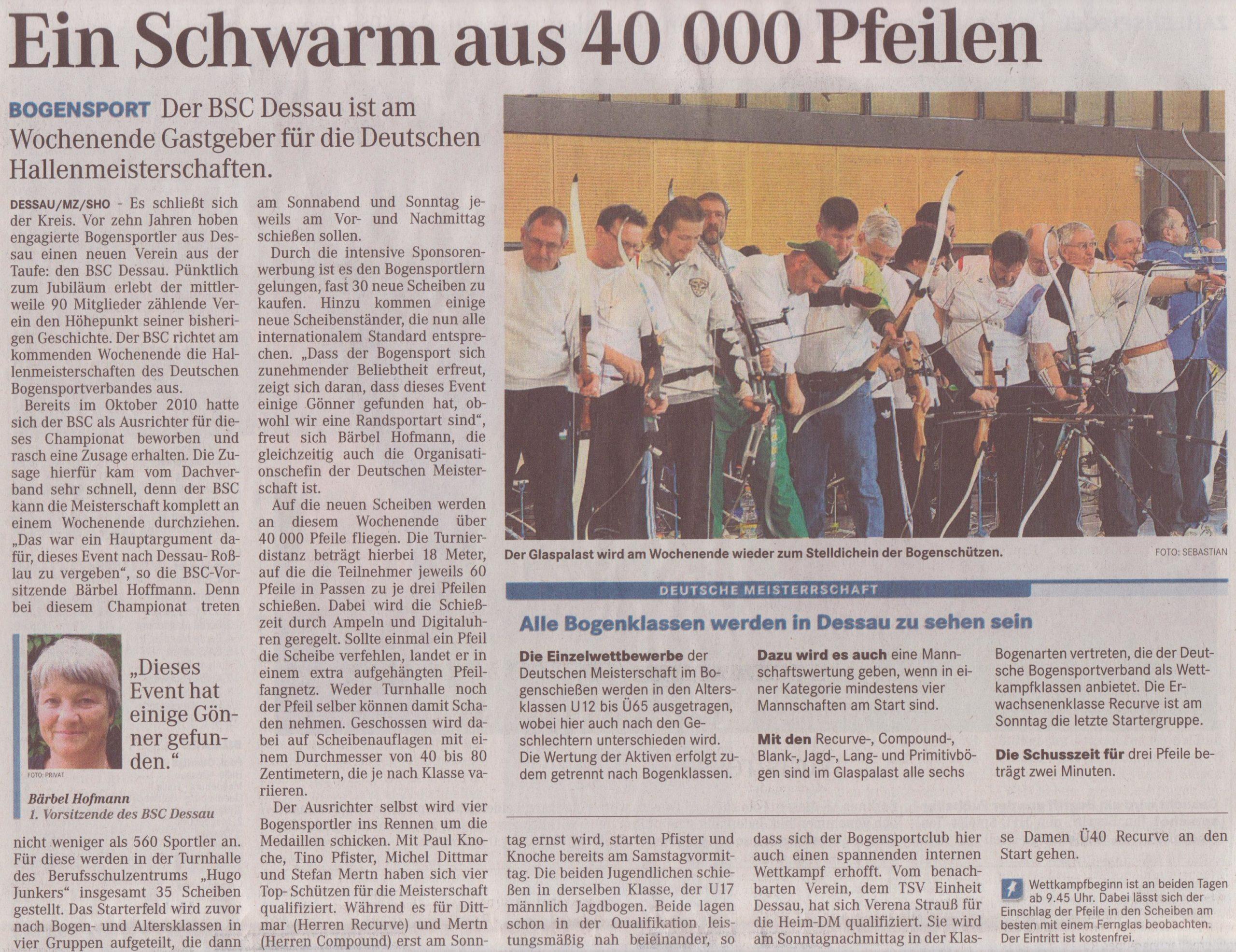 Ankündigung DM Fita Halle in Dessau – Mitteldeutsche Zeitung vom 29.02.2012