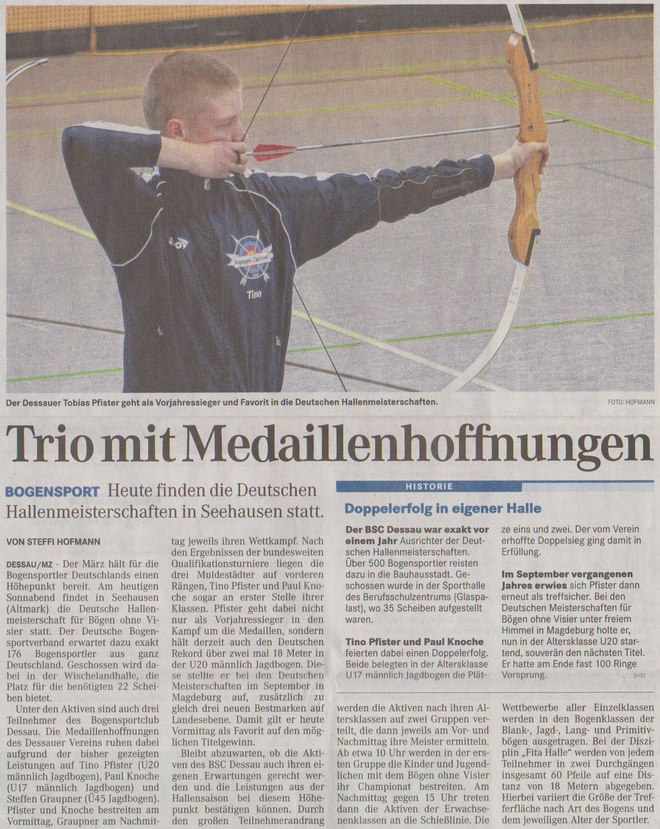 Ankündigung DM Fita Halle Bögen ohne Visier – Mitteldeutsche Zeitung vom 23.03.2013