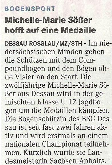 Ankündigung DM DBSV in Minden (Bögen ohne Visier) – Mitteldeutsche Zeitung vom 14.03.2009