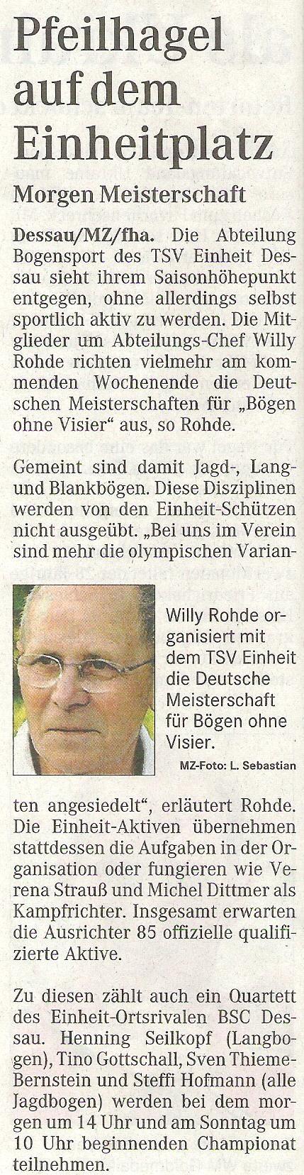 Ankündigung DM FITA Bögen ohne Visier in Dessau – Mitteldeutsche Zeitung vom 01.09.2006