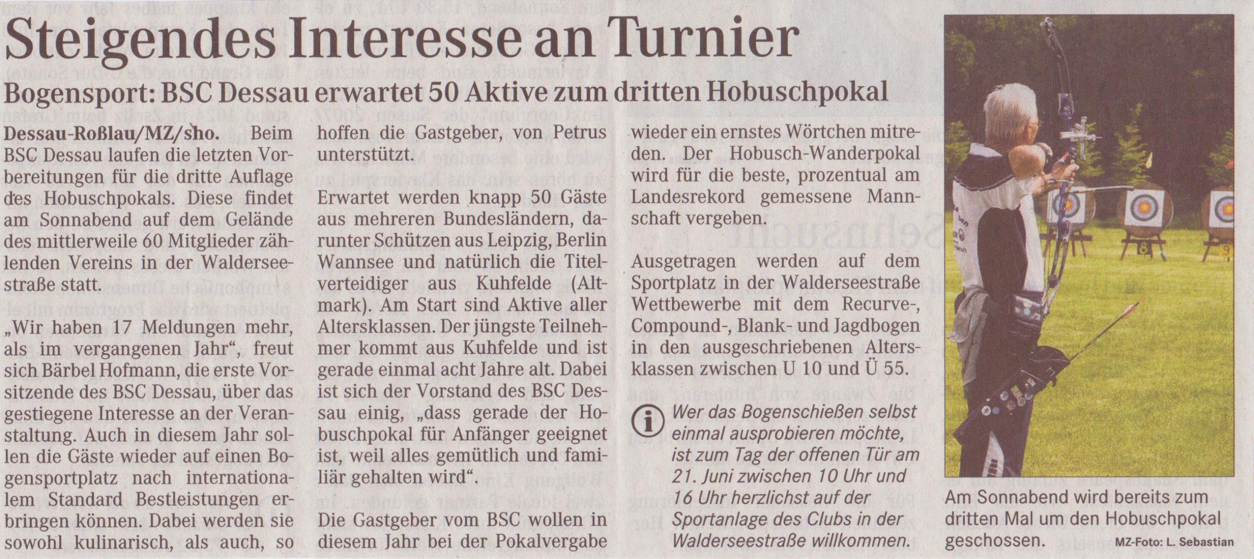 Ankündigung 3. Hobuschpokal – Mitteldeutsche Zeitung vom 22.05.2008)