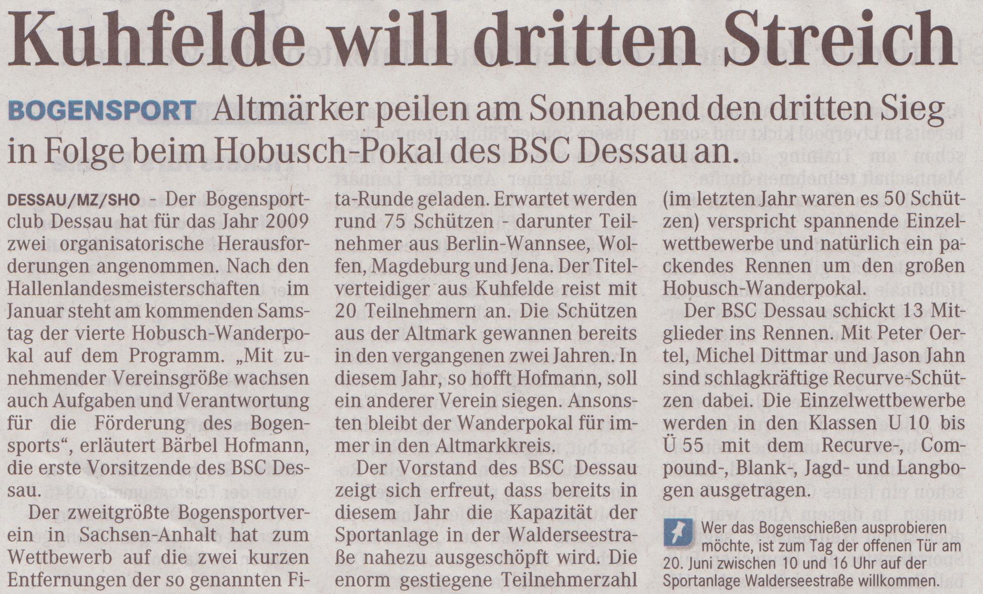 Ankündigung 4. Hobusch-Wanderpokal – Mitteldeutsche Zeitung vom 14.05.2009
