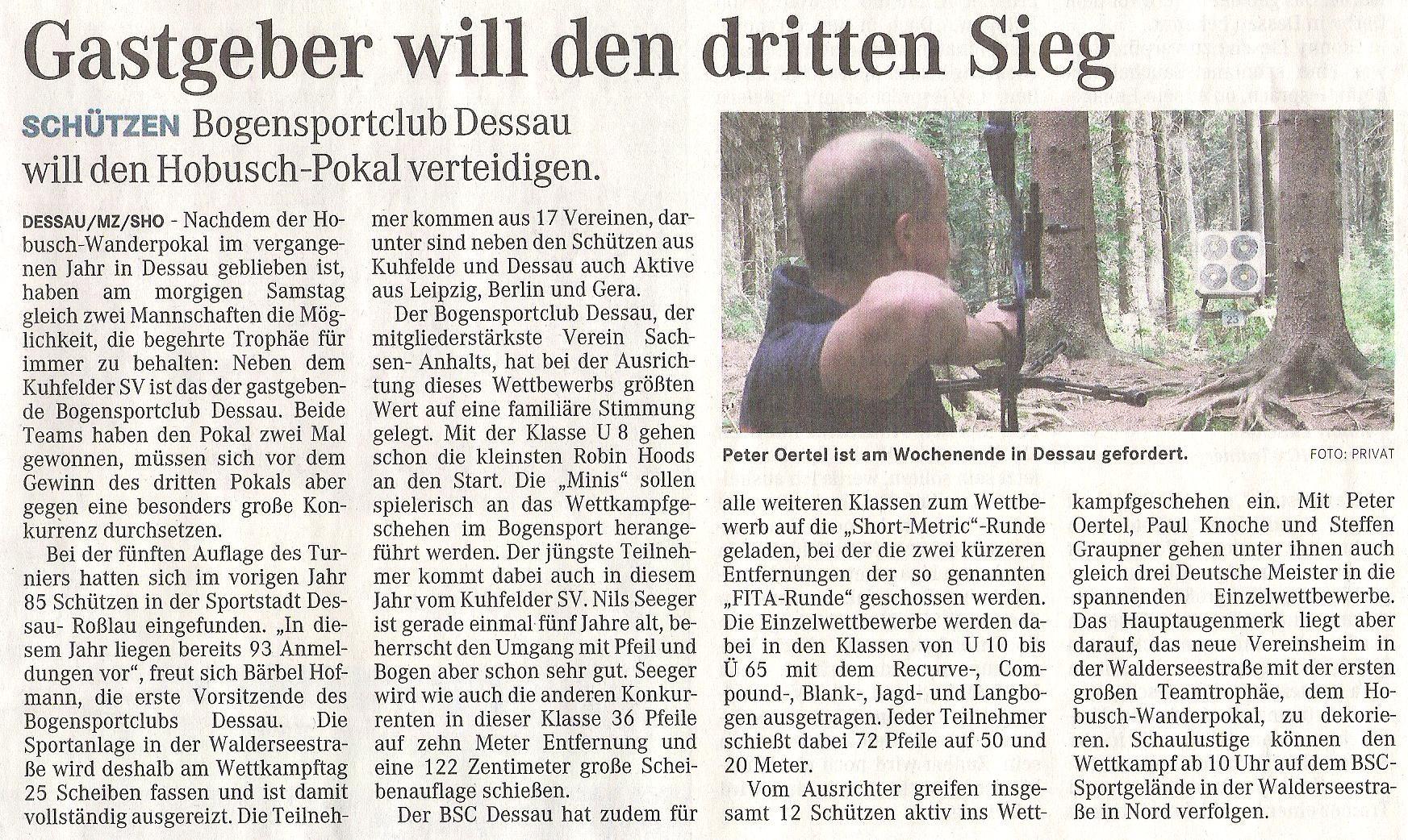 Ankündigung 6. Hobusch- Wanderpokal – Mitteldeutsche Zeitung vom 13.05.2011