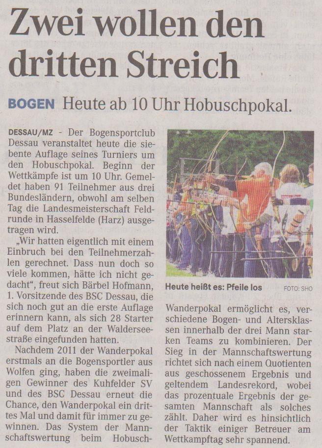 Ankündigung 7. Hobusch- Wanderpokal – Mitteldeutsche Zeitung vom 12.05.2012