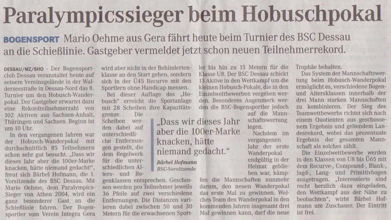 Ankündigung 8. Hobusch- Wanderpokal – Mitteldeutsche Zeitung vom 25.05.2013