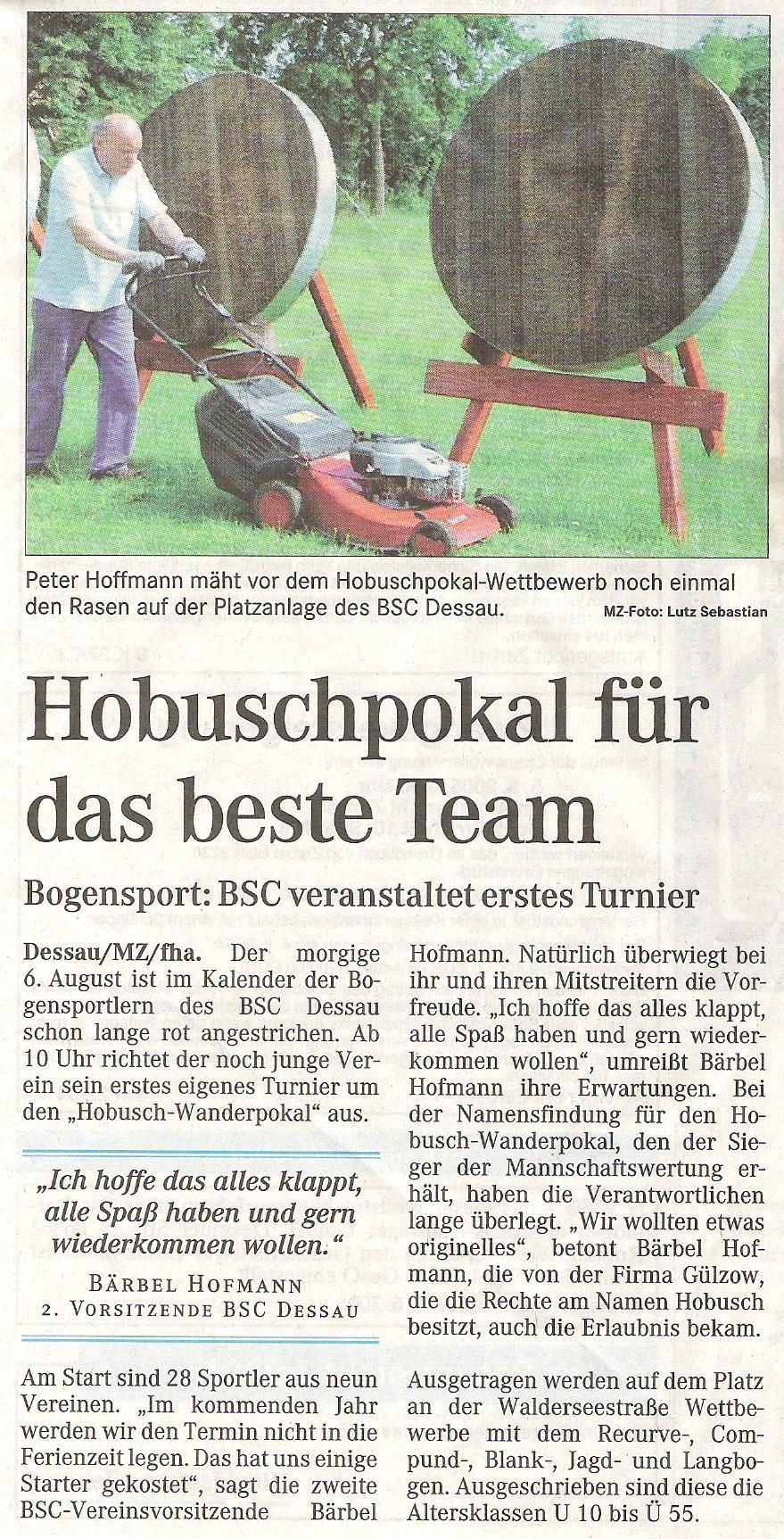 Ankündigung  Hobusch- Wanderpokal – Mitteldeutsche Zeitung vom 04.08.2005