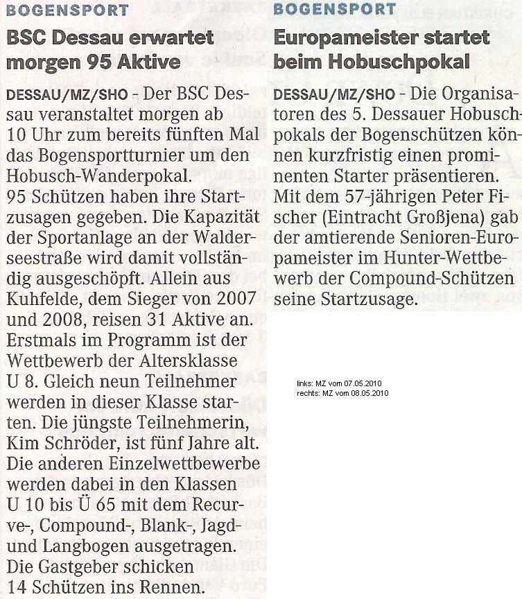 Ankündigung 5. Hobusch-Wanderpokal – Mitteldeutsche Zeitung vom 07. u. 08.05.2010)