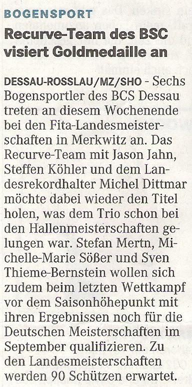 Ankündigung LM FITA – Mitteldeutsche Zeitung vom 27.06.2009