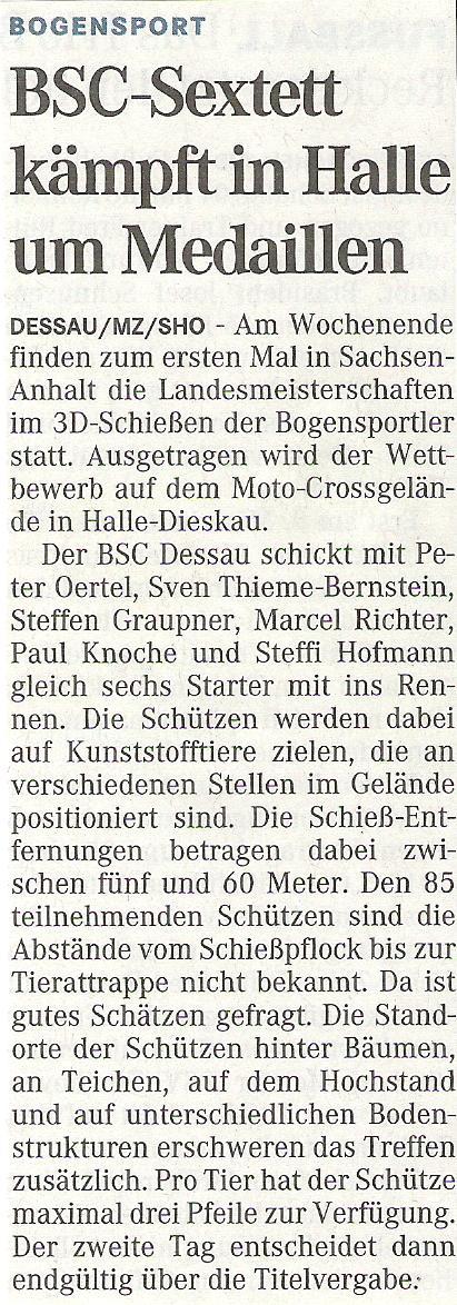 Ankündigung LM 3D – Mitteldeutsche Zeitung vom 27.03.2009