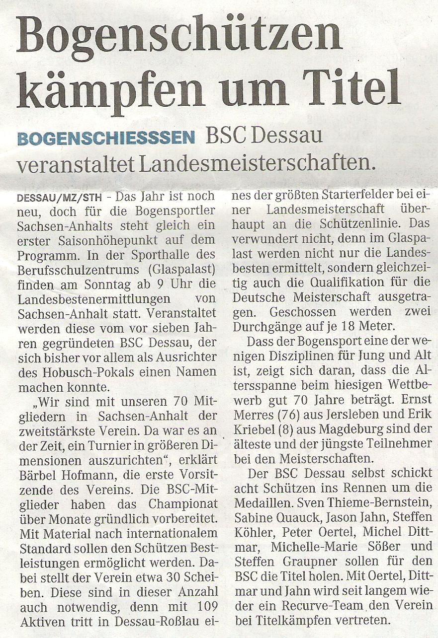 Ankündigung LM FITA Halle – Mitteldeutsche Zeitung vom 09.01.2009