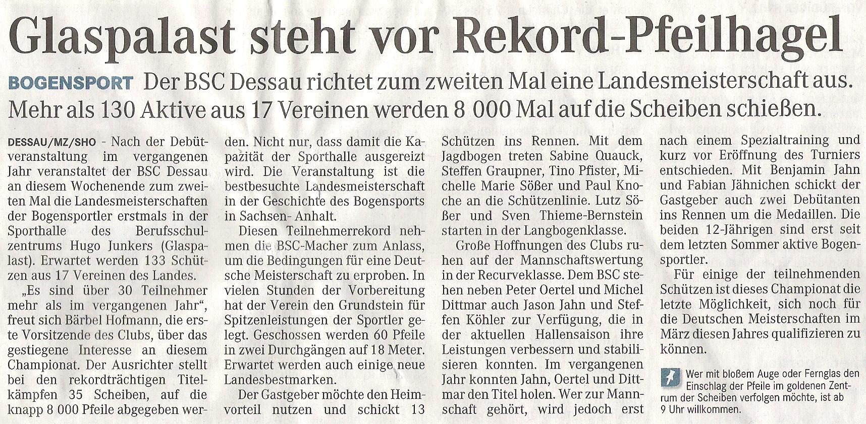 Ankündigung LM FITA Halle – Mitteldeutsche Zeitung 22.01.2010