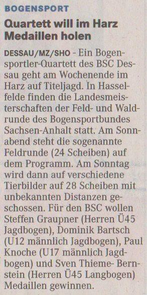 Ankündigung LM Feld- und Waldrunde – Mitteldeutsche Zeitung vom 04.05.2013
