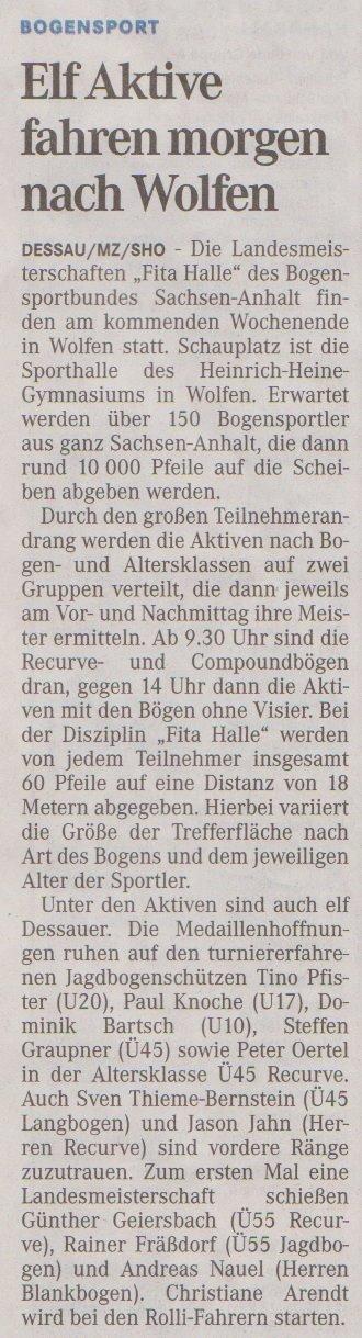 Ankündigung LM Fita Halle – Mitteldeutsche Zeitung vom 17.01.2013