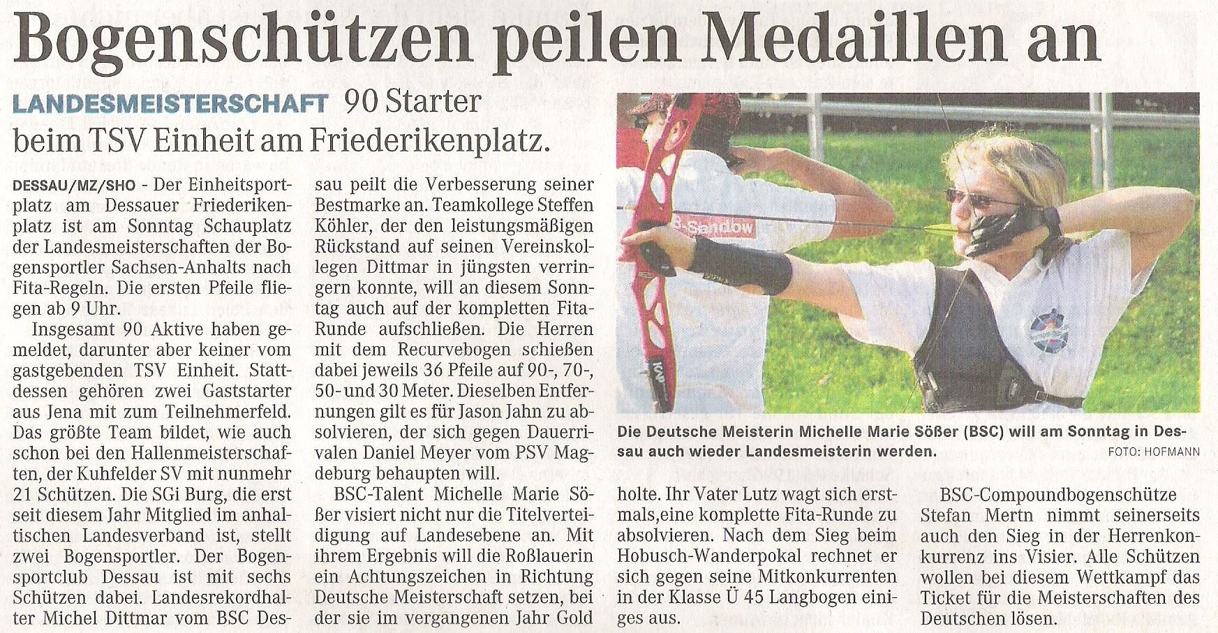 Ankündigung LM Fita Scheibe – Mitteldeutsche Zeitung vom 25.06.2010
