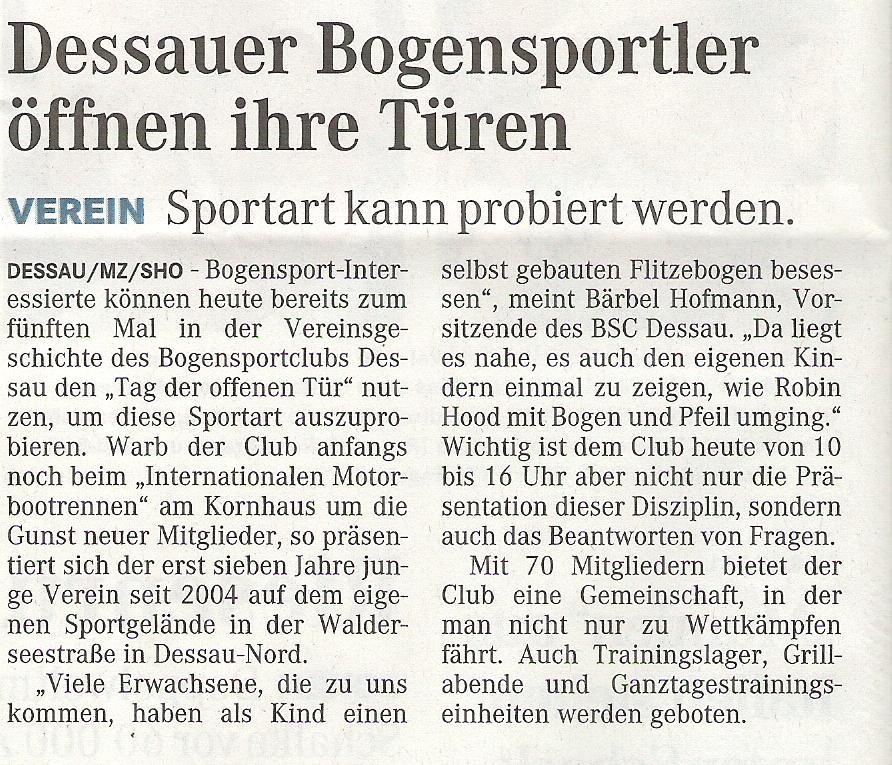Ankündigung Tag der offenen Tür – Mitteldeutsche Zeitung vom 20.06.2009