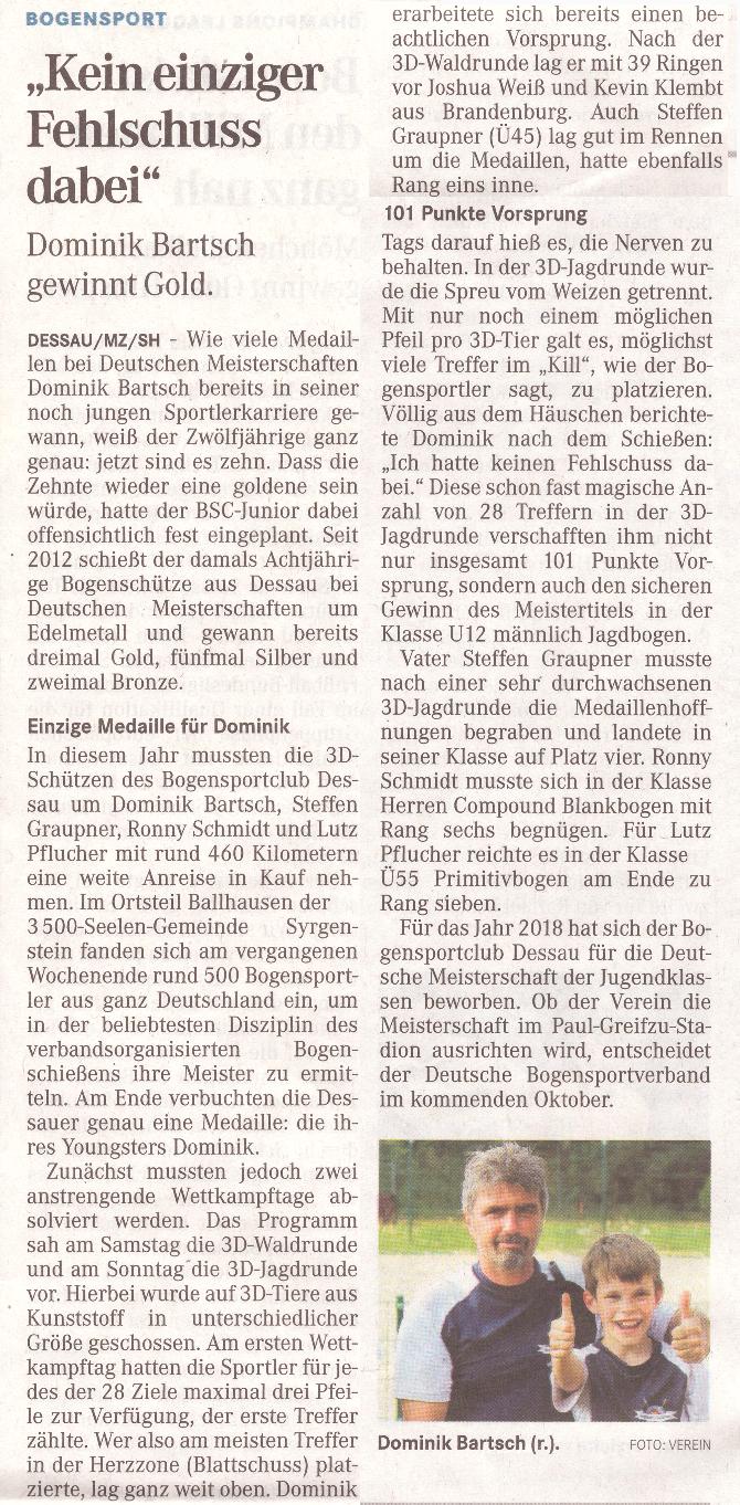 Deutsche Meisterschaft 3D – Mitteldeutsche Zeitung vom 17.08.2016