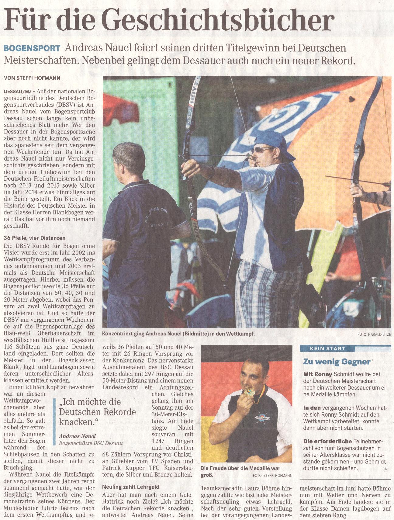 Deutsche Meisterschaft Bögen ohne Visier – Mitteldeutsche Zeitung vom 31.08.2016