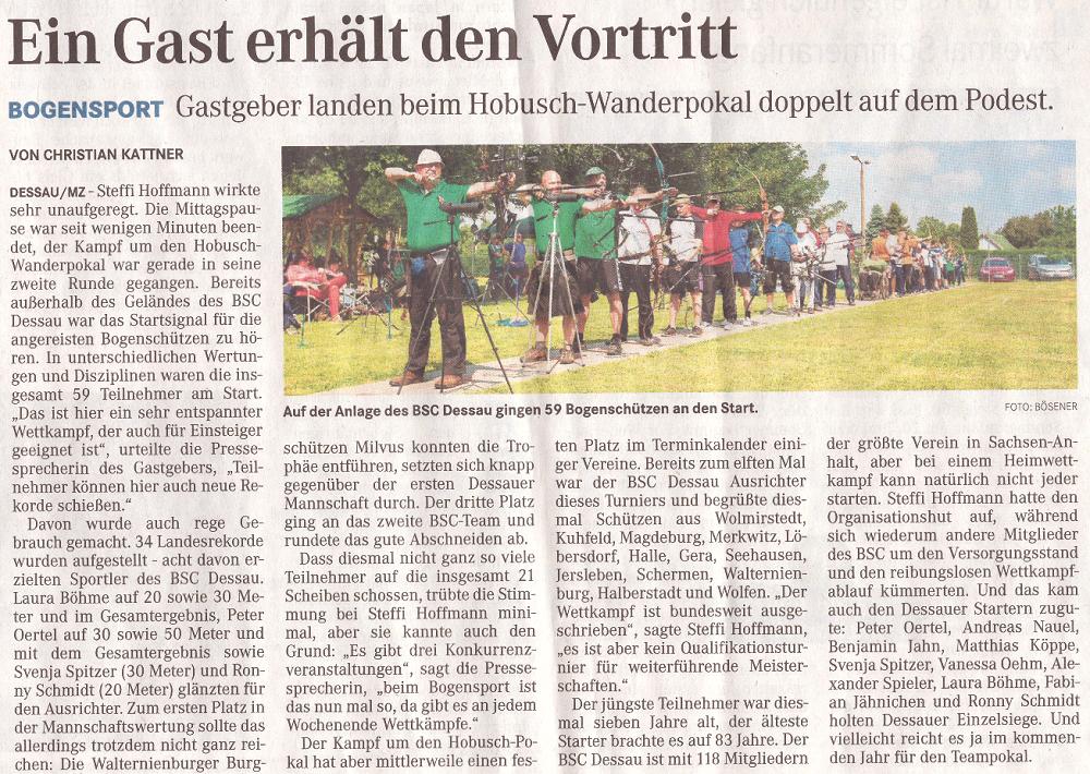 11. Hobusch-Wanderpokal – Mitteldeutsche Zeitung vom 01.06.2016
