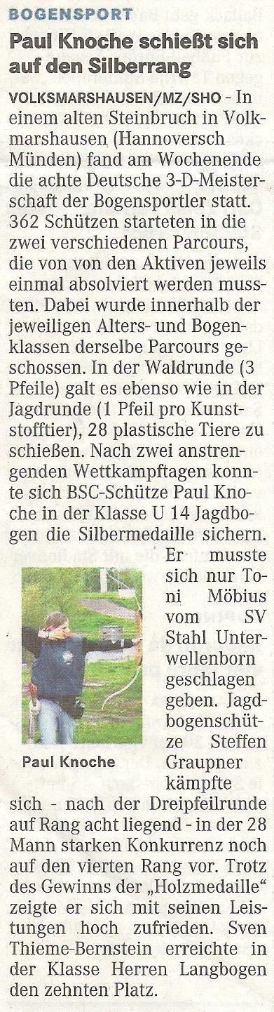 Deutsche Meisterschaft 3D – Mitteldeutsche Zeitung vom 18.08.2010
