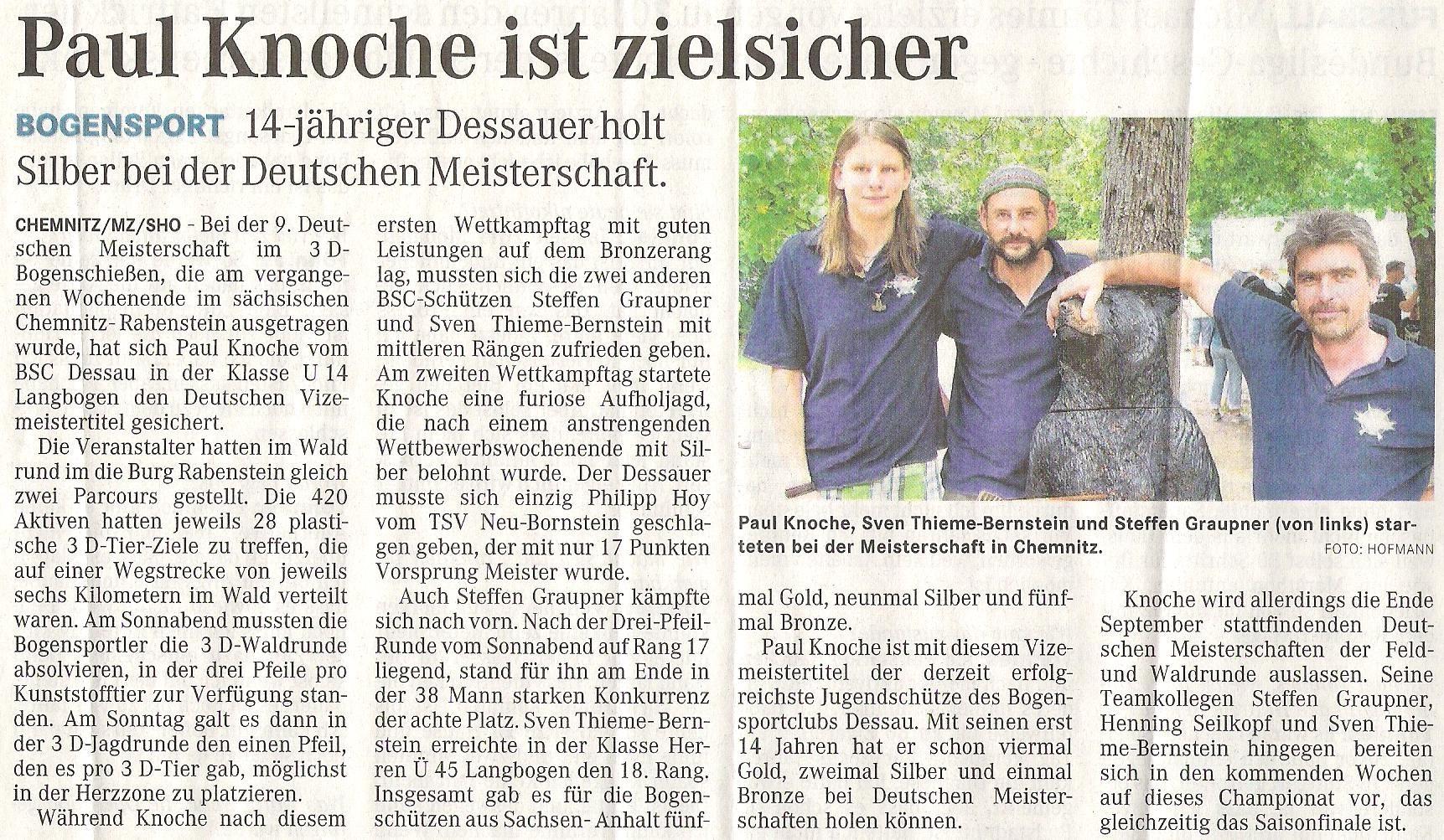 DM 3D in Chemnitz – Mitteldeutsche Zeitung vom 24.08.2011