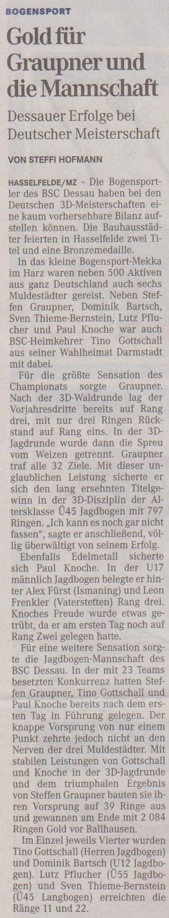 Deutsche Meisterschaft 3D – Mitteldeutsche Zeitung vom 14.08.2013