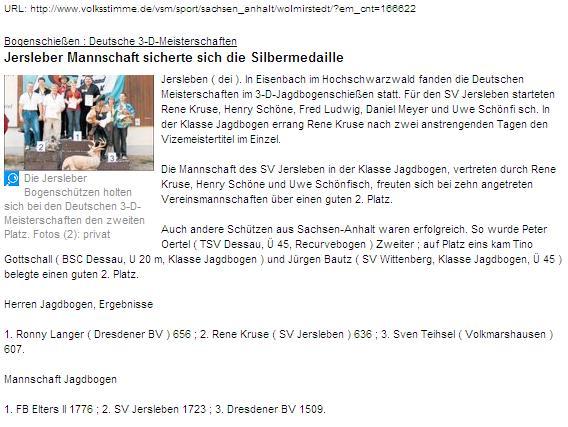 DM 3D in Eisenbach – Volksstimme Online-Ausgabe vom 25.09.2006