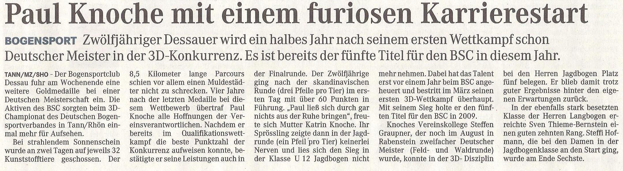 Deutsche Meisterschaft 3D – Mitteldeutsche Zeitung vom 29.09.2009