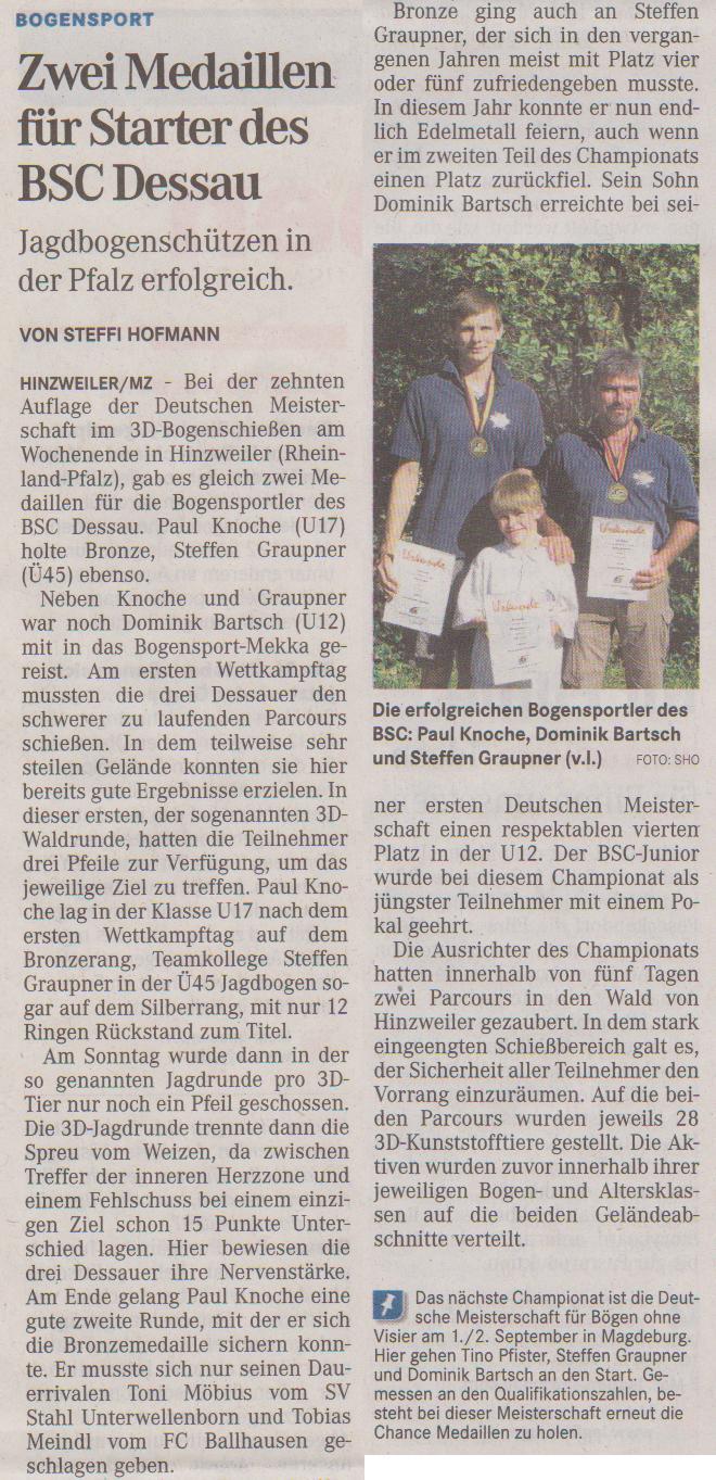Deutsche Meisterschaft 3D – Mitteldeutsche Zeitung vom 15.08.2012