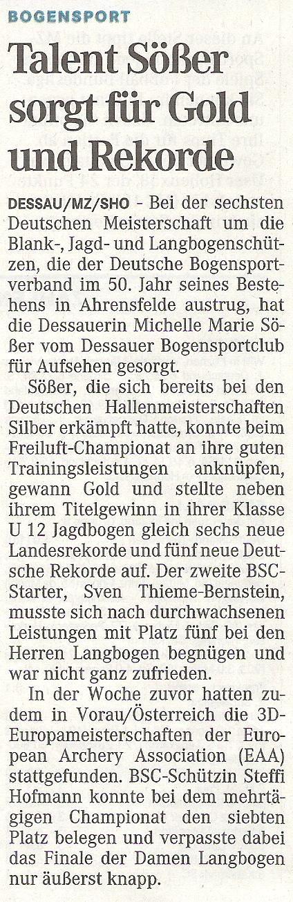 DM Bögen ohne Visier in Ahrensfelde – Mitteldeutsche Zeitung vom 25.08.2009