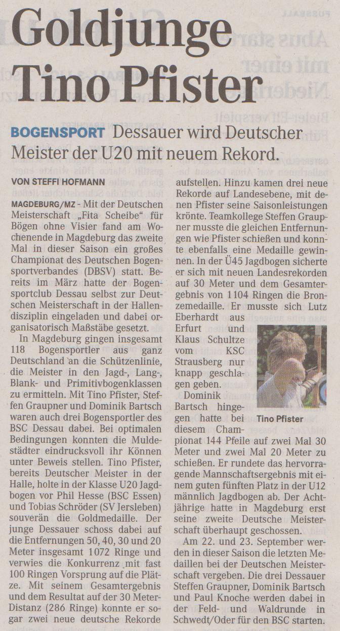 Deutsche Meisterschaft Bögen ohne Visier – Mitteldeutsche Zeitung vom 04.09.2012