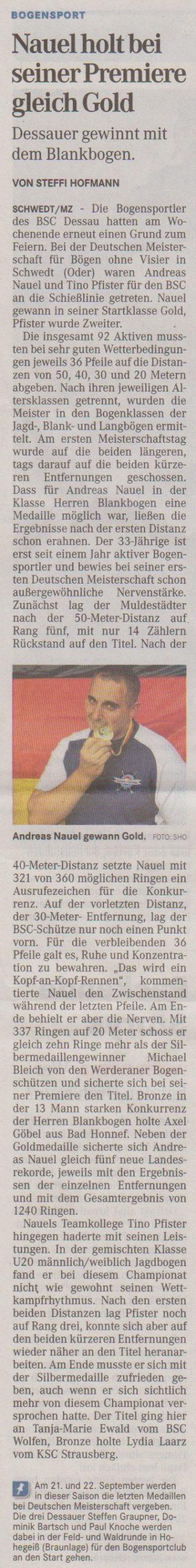 Deutsche Meisterschaft Bögen ohne Visier – Mitteldeutsche Zeitung vom 11.09.2013