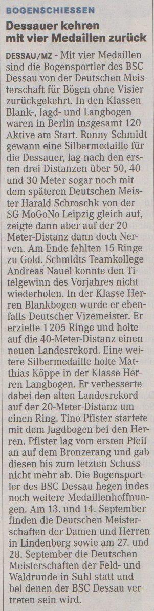 DM Bögen ohne Visier – Mitteldeutsche Zeitung vom 03.09.2014