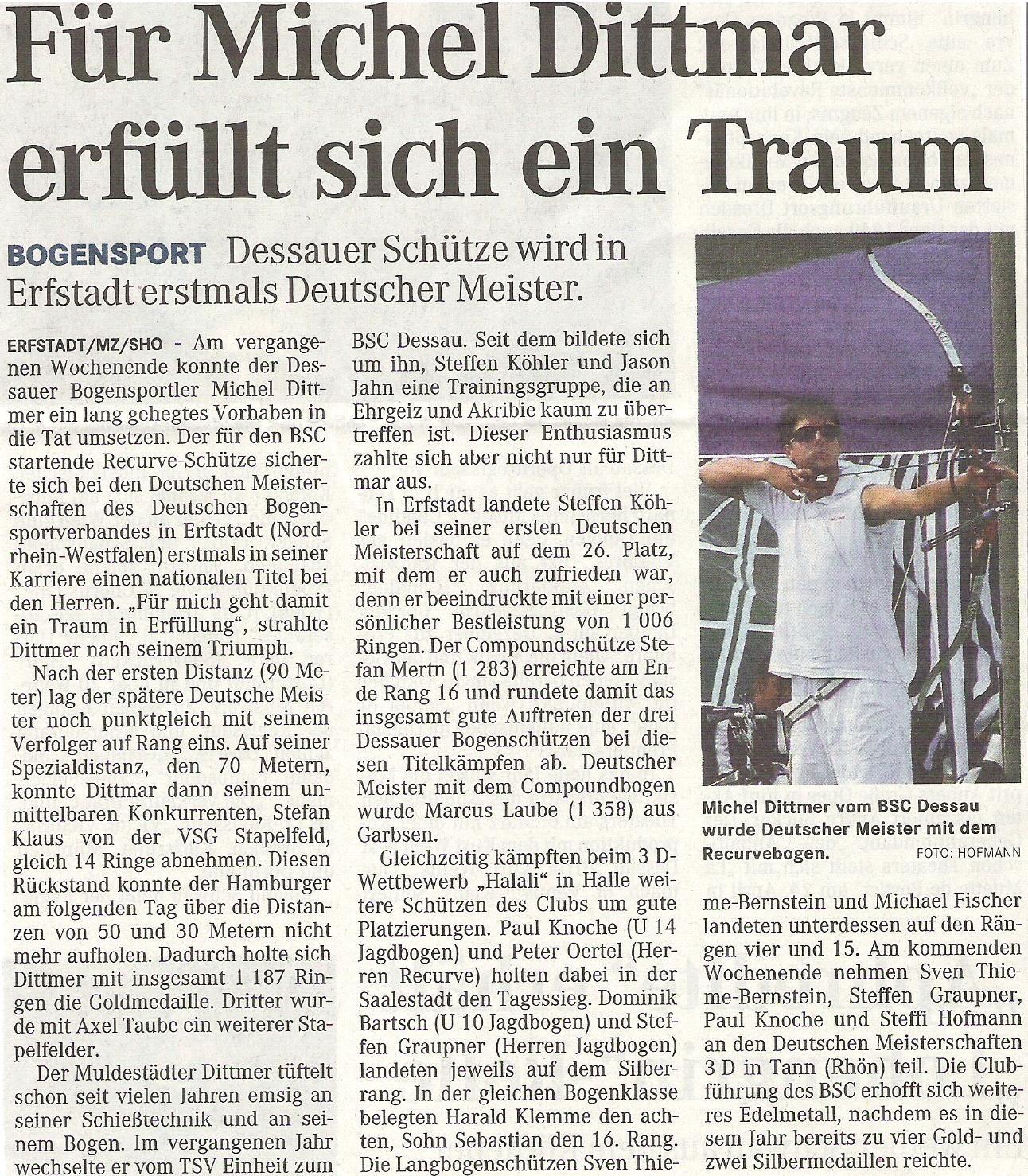 DM Damen und Herren, Halali – Mitteldeutsche Zeitung vom 16.09.2009