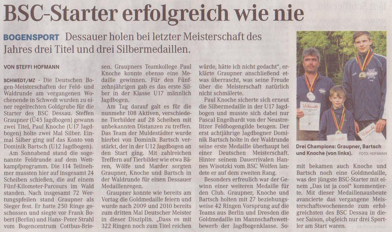 DM Feld- und Waldrunde in Schwedt (Oder) – Mitteldeutsche Zeitung vom 26.09.2012