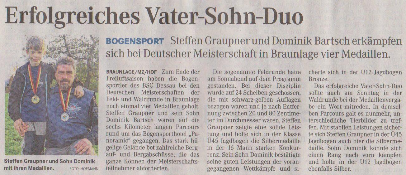 Deutsche Meisterschaft Feld- u. Waldrunde – Mitteldeutsche Zeitung vom 25.09.2013