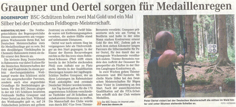 DM Feld- und Waldrunde in Chemnitz – Mitteldeutsche Zeitung vom 11.08.2009