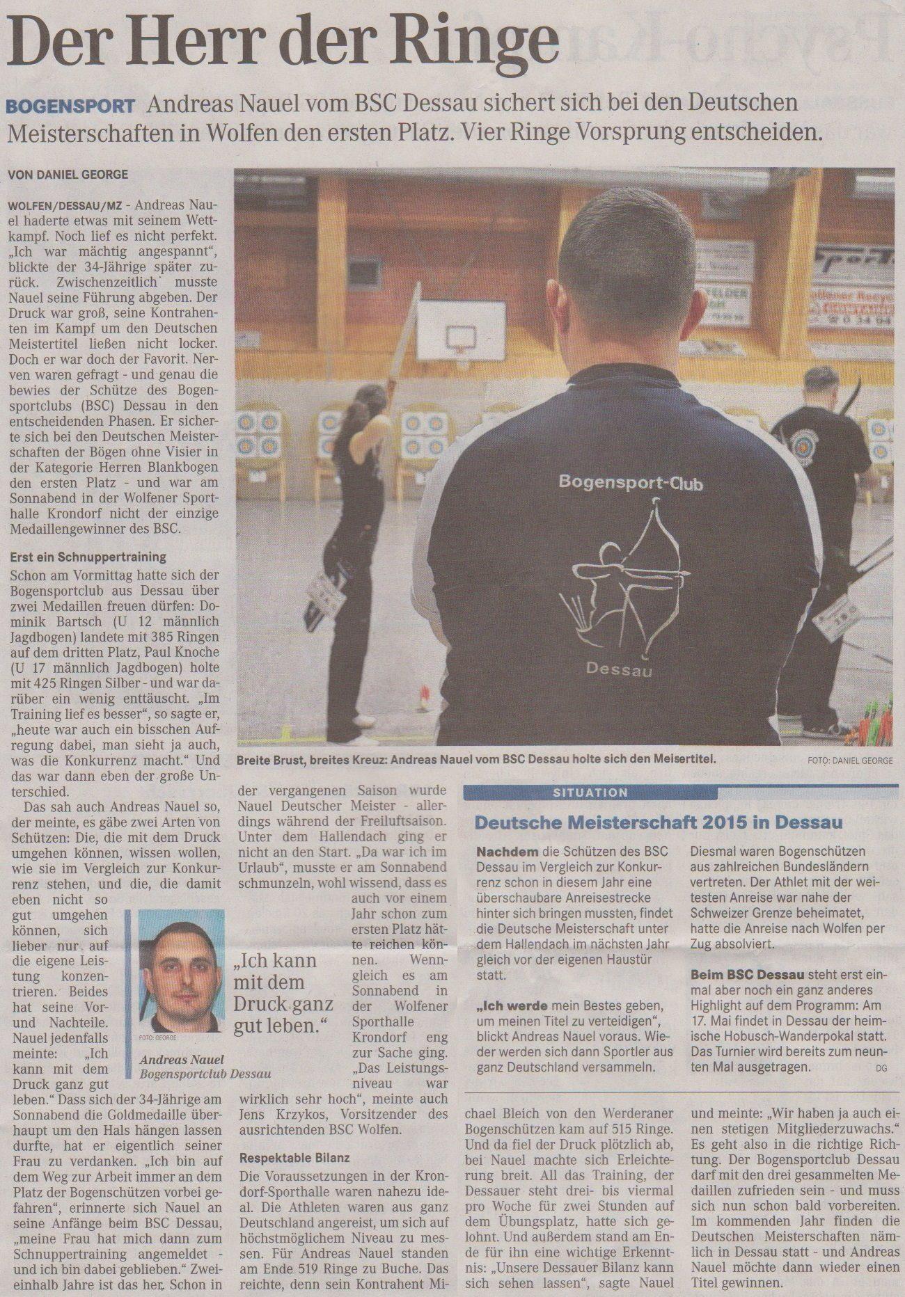 DM Halle Bögen ohne Visier – Mitteldeutsche Zeitung vom 25.03.2014