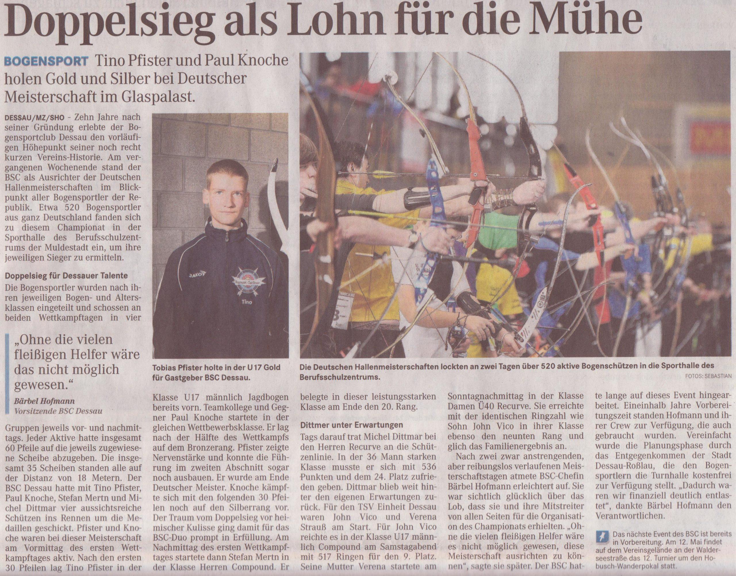 DM Fita Halle in Dessau – Mitteldeutsche Zeitung vom 06.03.2012