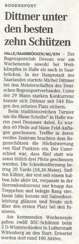 DM FITA Halle (Recurve) – Mitteldeutsche Zeitung vom 04.03.2009
