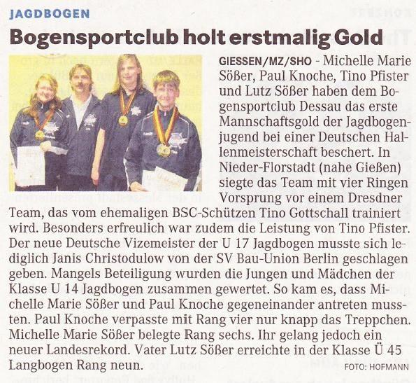 DM Halle DBSV für Bögen ohne Visier – Mitteldeutsche Zeitung vom 04.03.2010