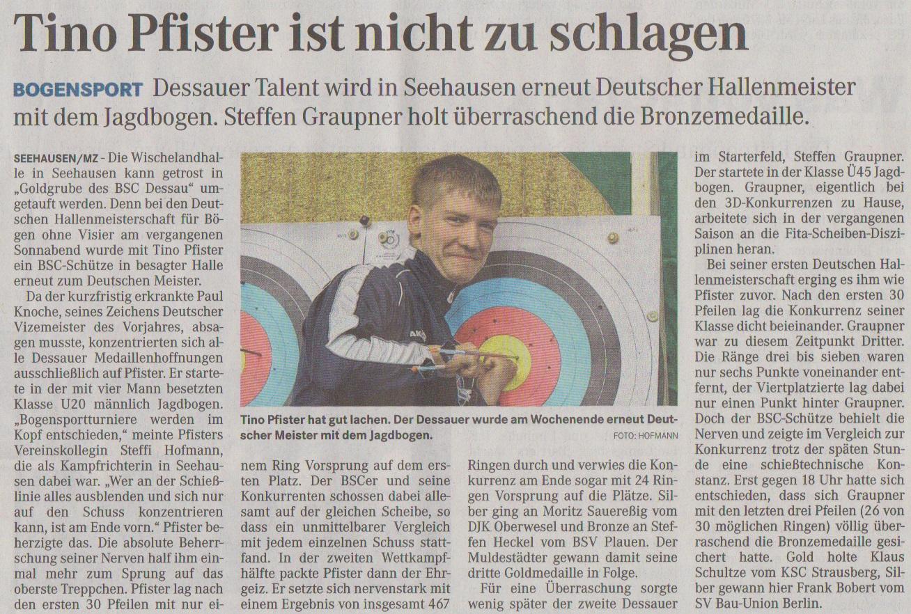 DM Fita Halle Bögen ohne Visier – Mitteldeutsche Zeitung vom 27.03.2013