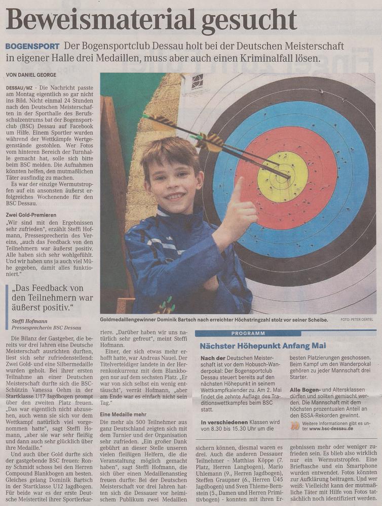DM Halle des DBSV in Dessau – Mitteldeutsche Zeitung vom 18.03.2015