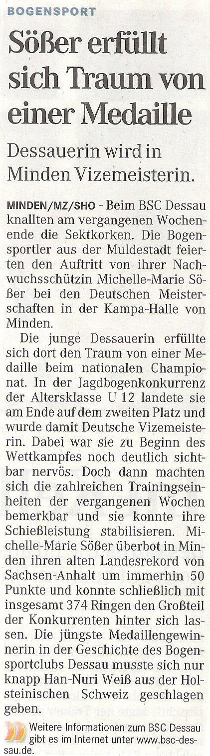 DM DBSV in Minden (Bögen ohne Visier) – Mitteldeutsche Zeitung vom 16.03.2009