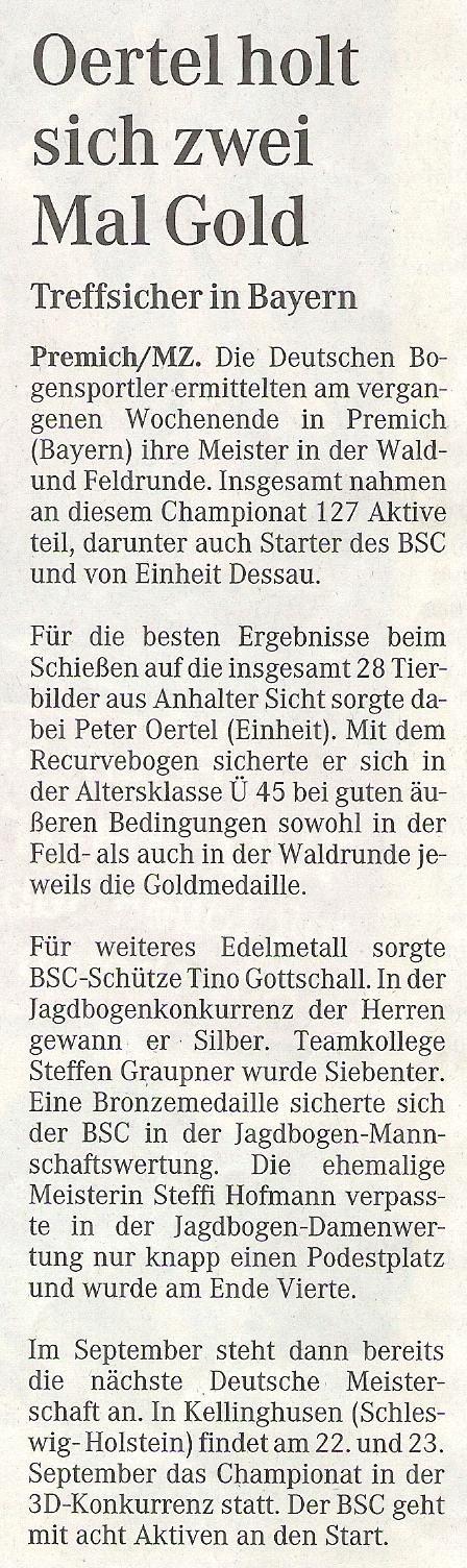 DM Waldrunde in Premich – Mitteldeutsche Zeitung vom 15.08.2007